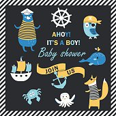 Baby shower invitation with cute animals in nautical style