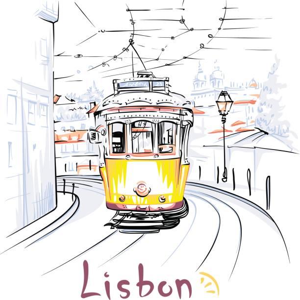 żółty tramwaj 28 w alfama, lizbona, portugalia - lizbona stock illustrations