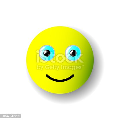 istock Yellow 3D Smiley. Vector image. Isolated object on white background. Isolate. 1347347219