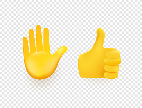 Yellow 3d vector hands isolated on transparent background