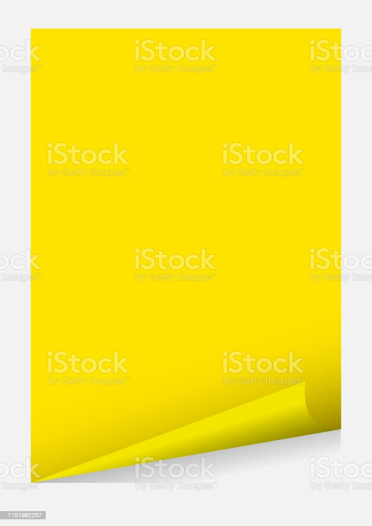 Yellow A4 Paper Blank Curl Corner Template Isolated On Grey