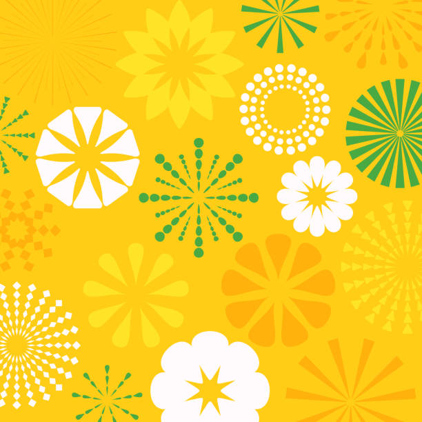 Yellow Abstract Bursts Background Blue abstract circle splash burst design elements. fruit backgrounds stock illustrations