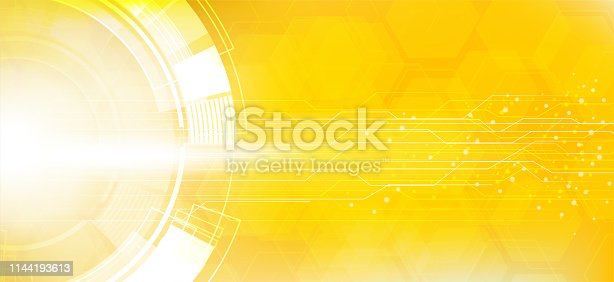 istock yellow Abstract Technology Circuit Board Background 1144193613