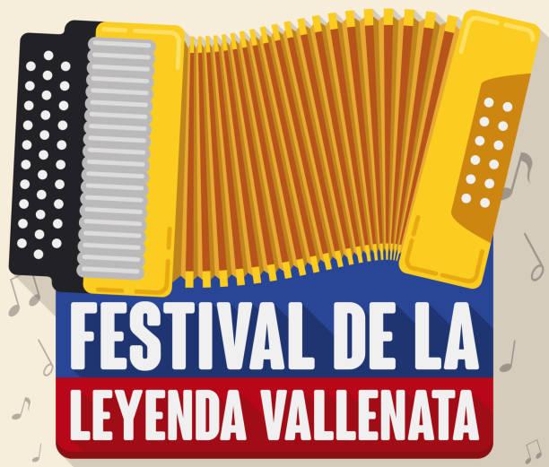 Gelbe Akkordeon bilden die kolumbianische Flagge für Vallenato Legende Festival – Vektorgrafik