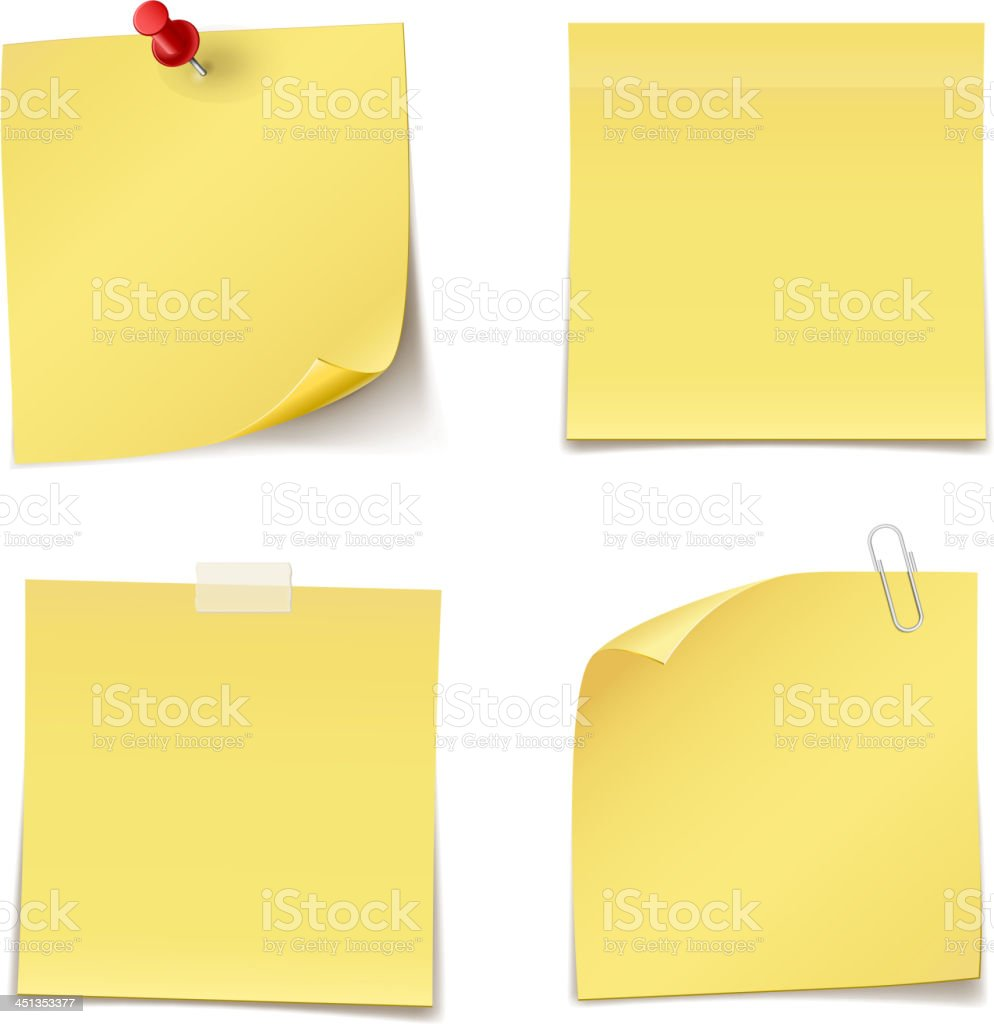 Yellow adhesive notes pinned to white background vector art illustration