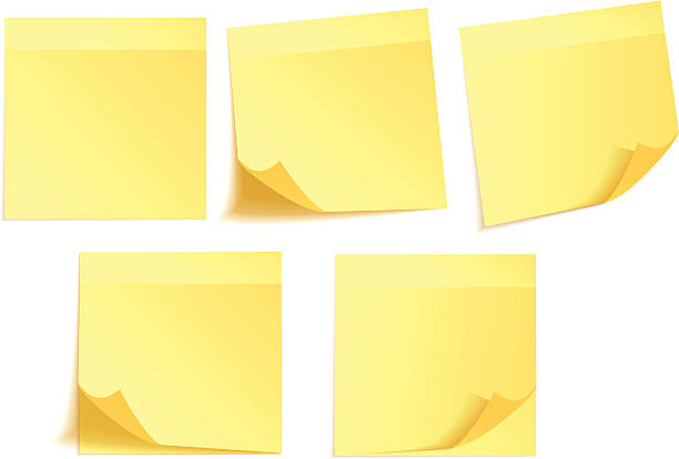 желтый наклеек для заметок - post it notes stock illustrations