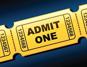 Yellow admittance tickets on a blue background