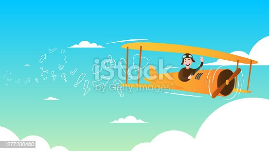 istock Yellow airplane  and line icons 1277200480