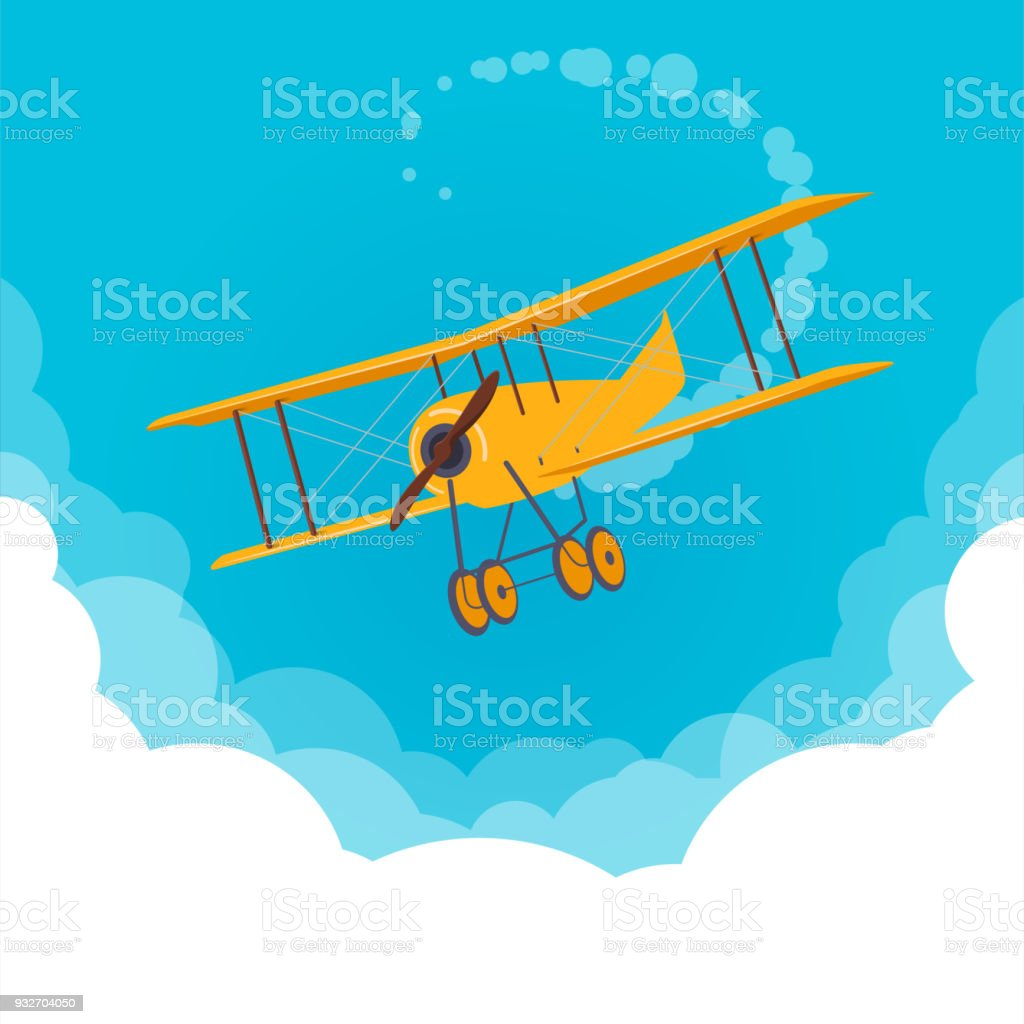 Amarillo avión volando en un cielo azul - ilustración de arte vectorial