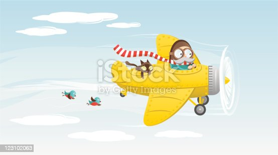 Illustration of a vintage yellow airplane in the sky.