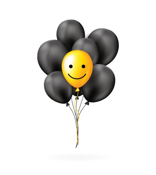 illustrations, cliparts, dessins animés et icônes de bouquet de ballons jaunes et noirs avec sourire visage. concept de motivation. - ballon anniversaire smiley
