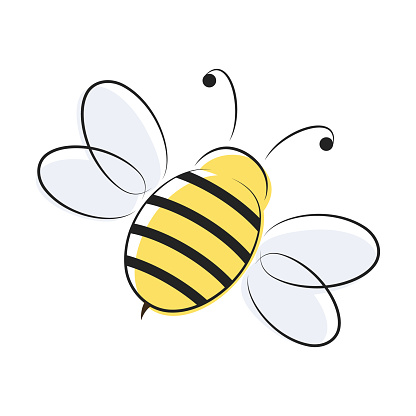Yellow and black bee simple icon