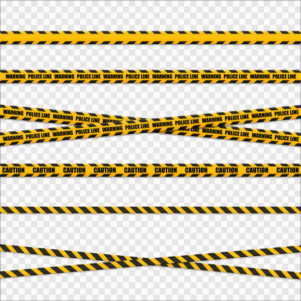 Yellow and black danger tapes. Caution lines isolated. Vector vector art illustration