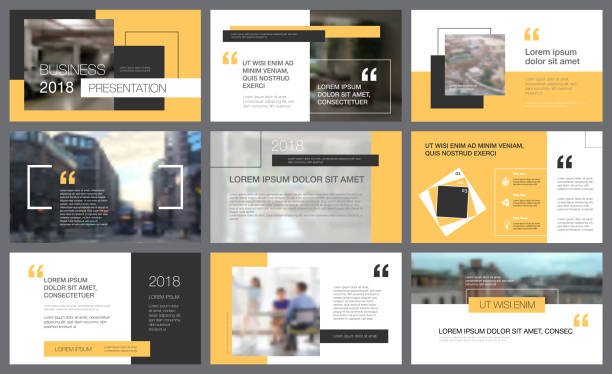 Yellow and black elements for slide templates Yellow and black infographic elements for presentation slide templates. Business concept can be used for advertising flyer and banner and web awards ceremony stock illustrations
