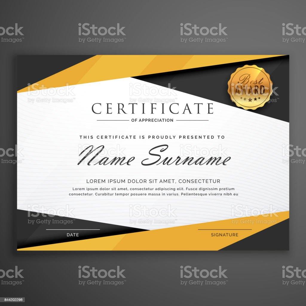 Yellow And Black Geometric Certificate Award Design Template Stock With Regard To Award Certificate Design Template