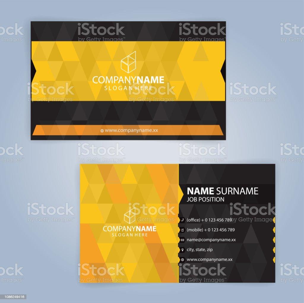 Gelb Und Schwarz Moderne Visitenkarte Vorlage Illustration
