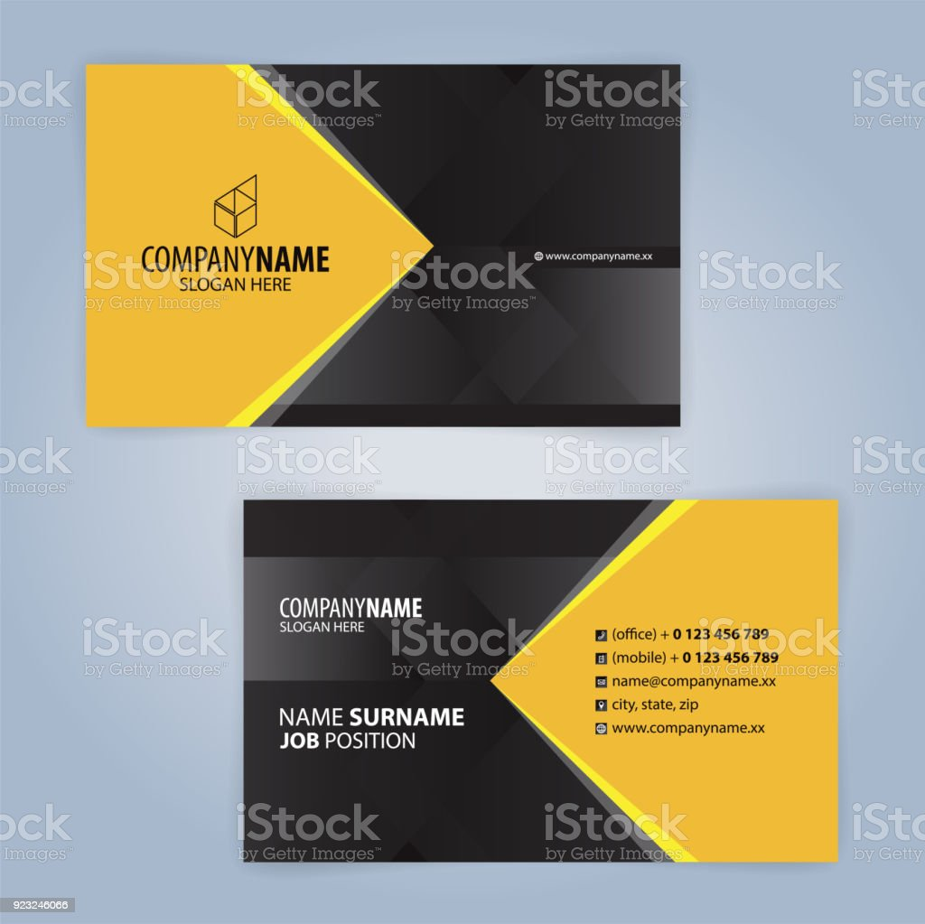 Yellow And Black Modern Business Card Template Stock Vector Art ...