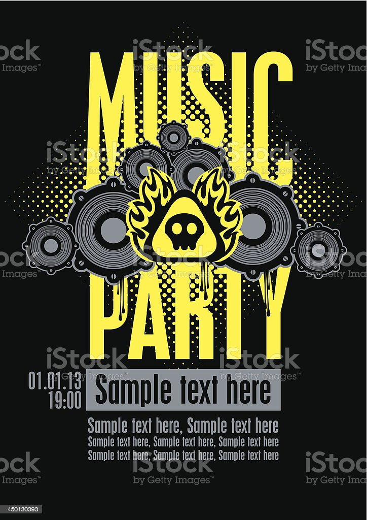 Yellow and black musical party invitation template royalty-free stock vector art