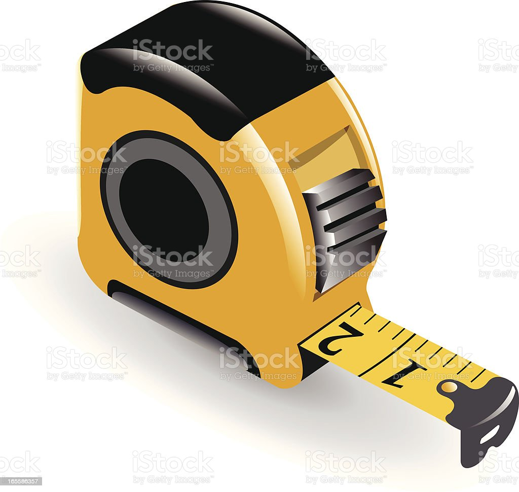 Yellow and black tape measure on a white background vector art illustration
