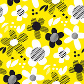 Yellow and black fun textures flowers seamless pattern. Simple floral vector motif for background, wrapping paper, fabric, surface design