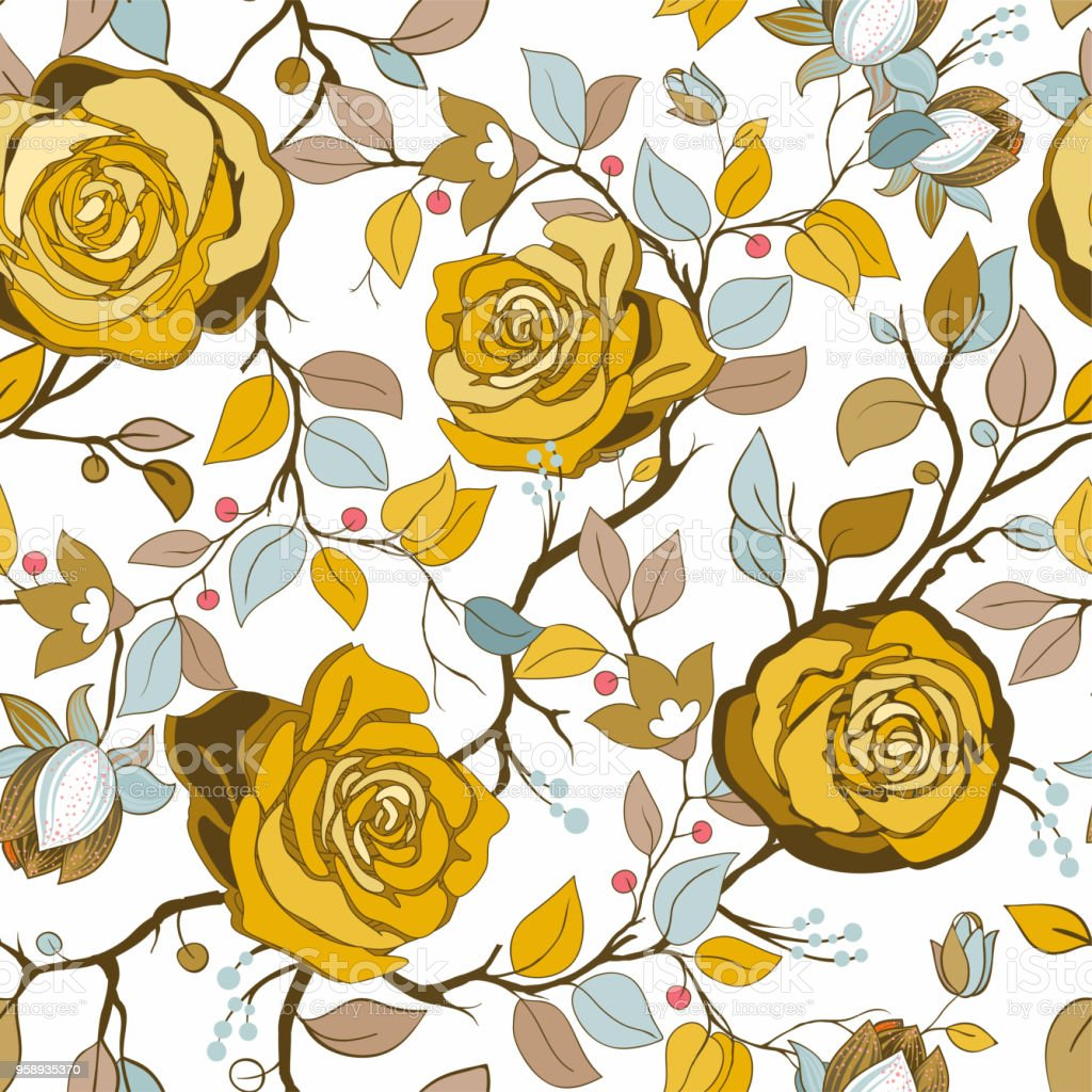 Yellow And Blue Floral Pattern Vector Wallpaper With Big