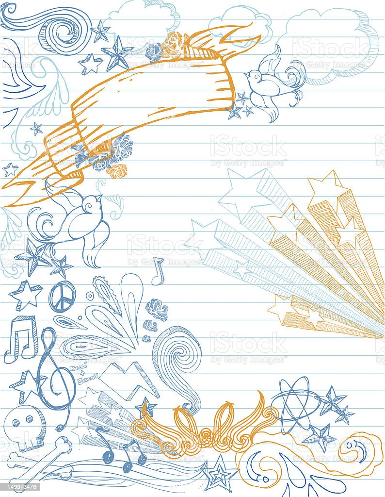 Yellow and blue sketches in a notebook vector art illustration