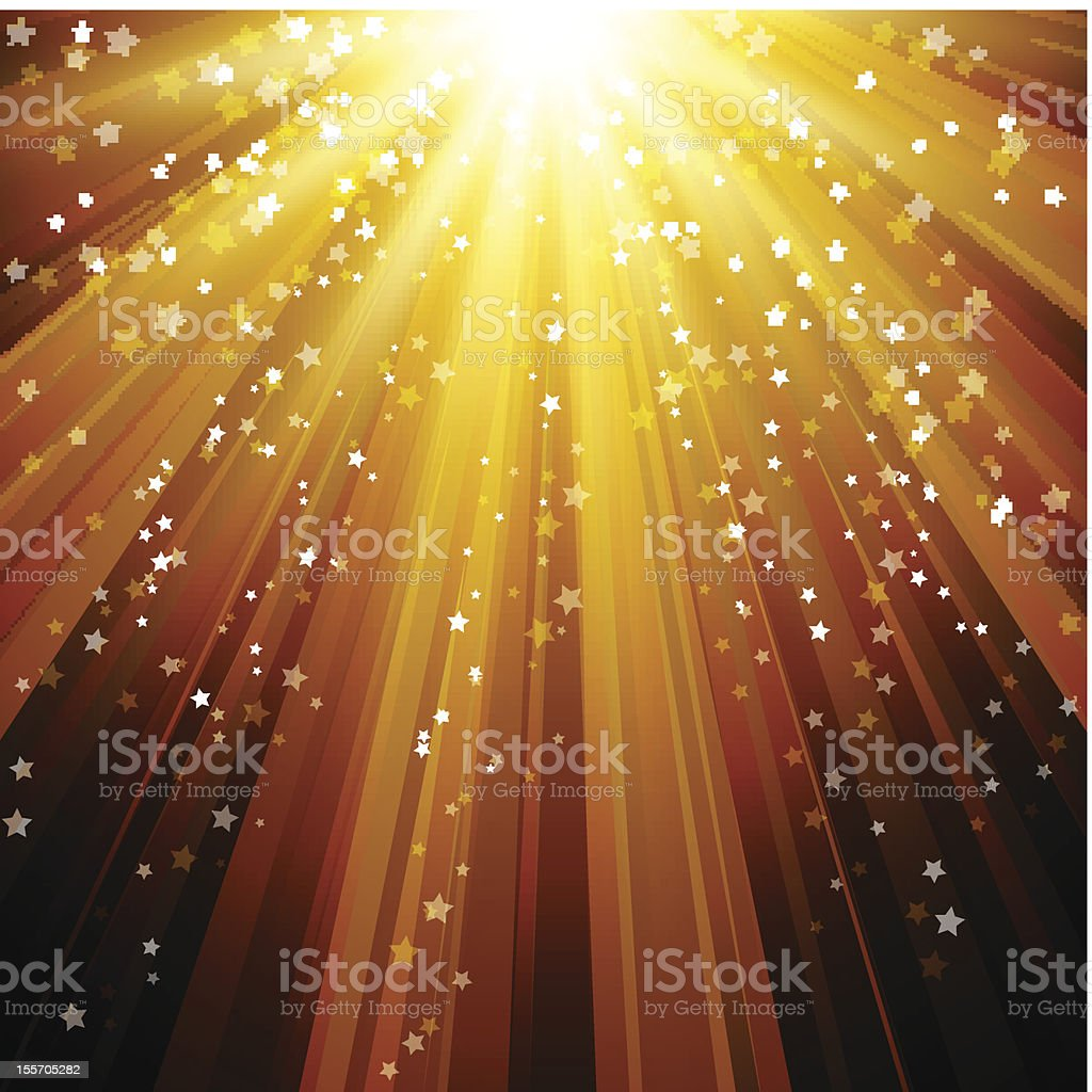 Yellow and golden abstract background of falling stars royalty-free stock vector art