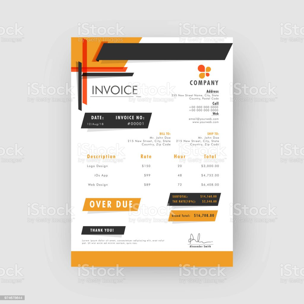 yellow and grey corporate invoice or estimate template stock vector