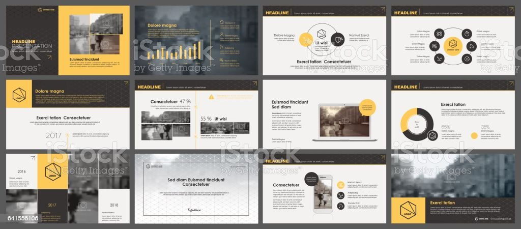 Yellow and grey elements for infographics vector art illustration