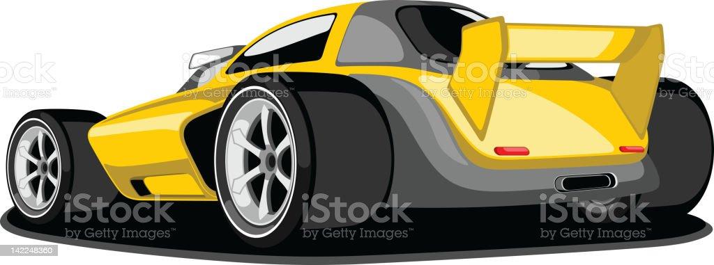 Yellow and Grey Formula One Car. vector art illustration