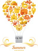 Yellow and orange balloon with sea vacation icons - Summer vacation