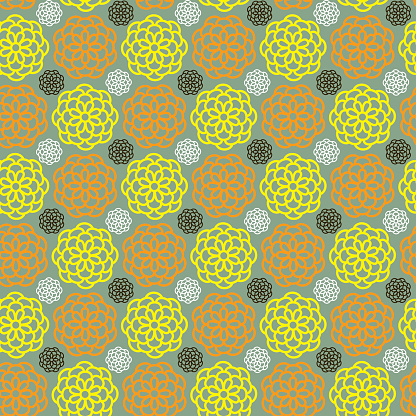 Yellow and orange chrysanthemums (Seamless pattern kimono style)