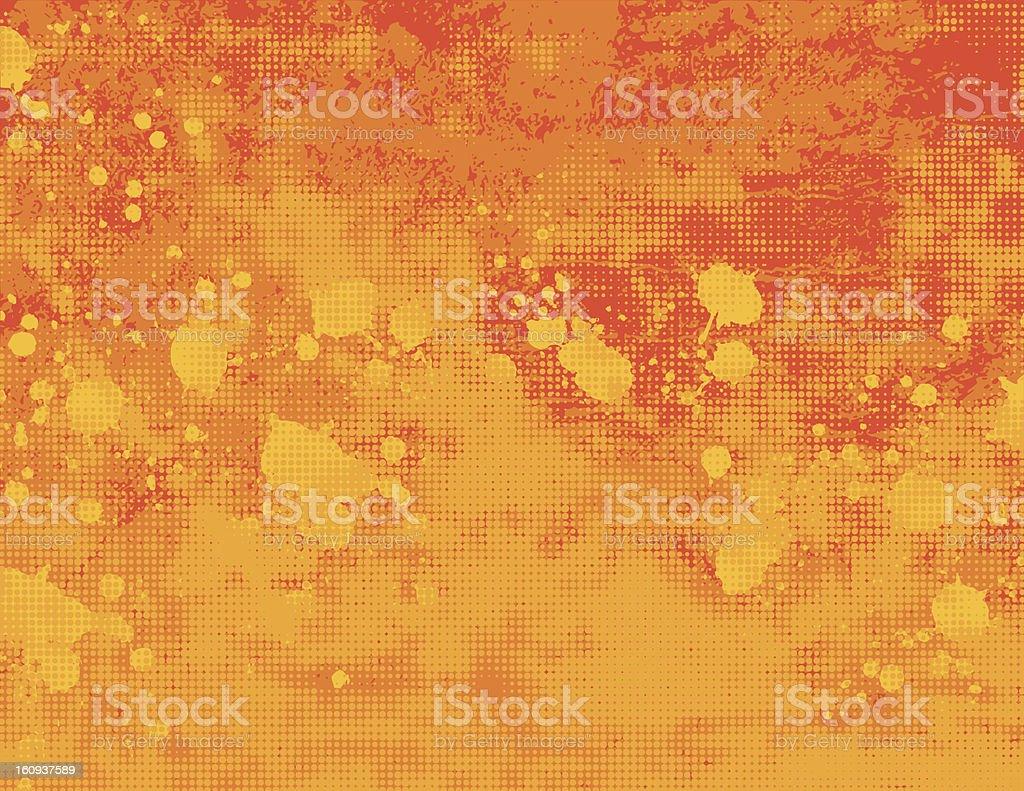 Yellow and orange grunge halftone background royalty-free stock vector art