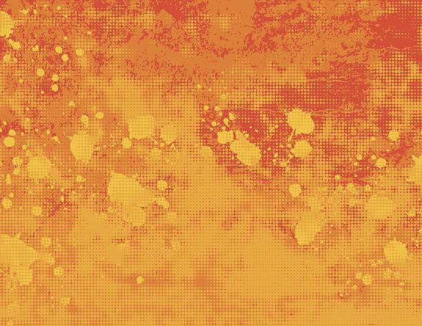 Yellow and orange grunge halftone background vector art illustration