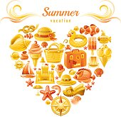 Yellow and orange heart with sea vacation icons - Summer vacation