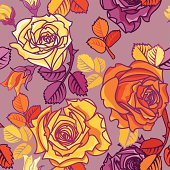 Yellow and orange roses on grey background. Vector seamless pattern.