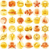 Yellow and orange vacation icons