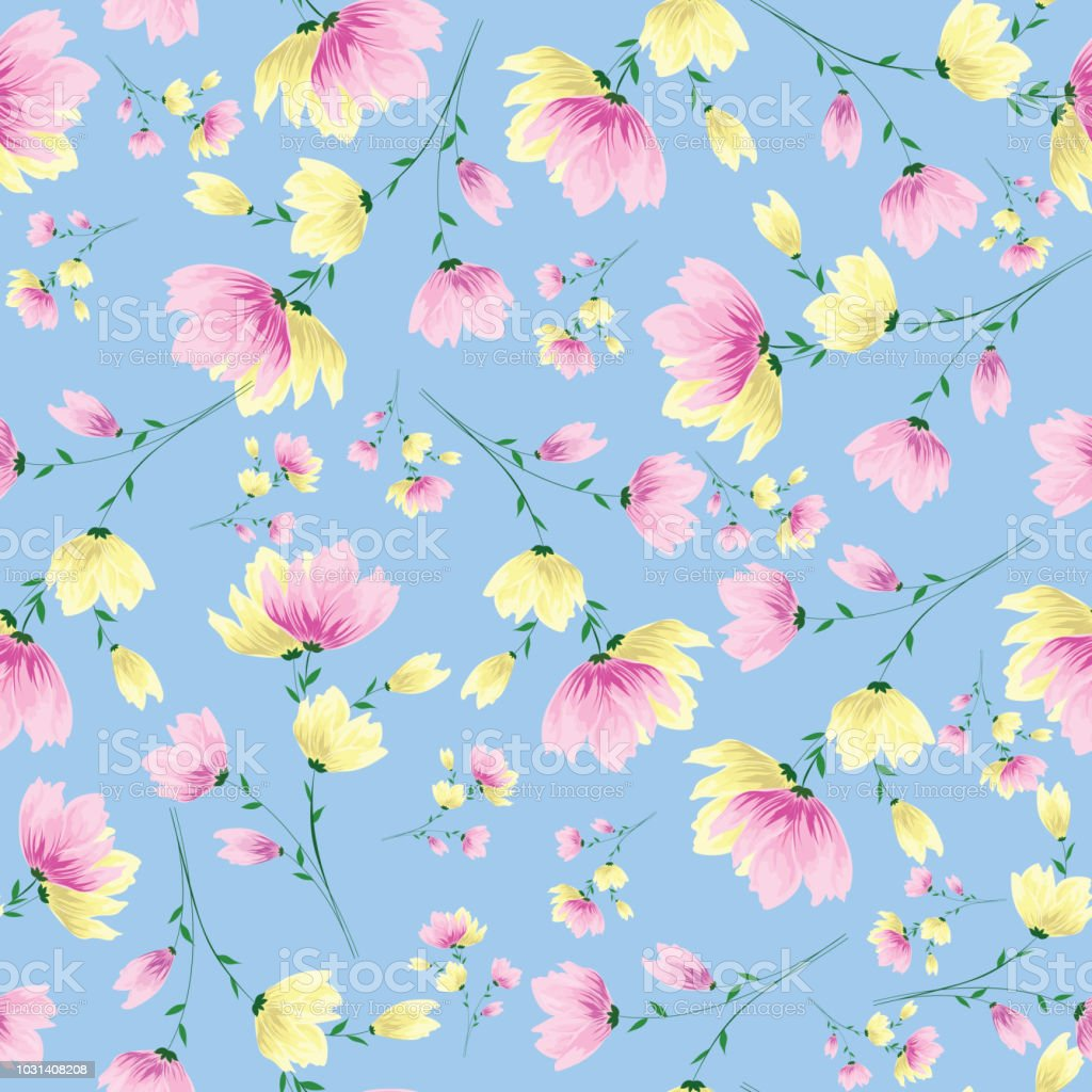Yellow And Pink Flowers Decorated Seamless Pattern Background Stock