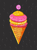 Yellow and pink ice cream with jelly beans on a dark gray background with confetti. Ice cream in a waffle cone, cartoon dairy products. Striped candy. - Vector. vector illustration