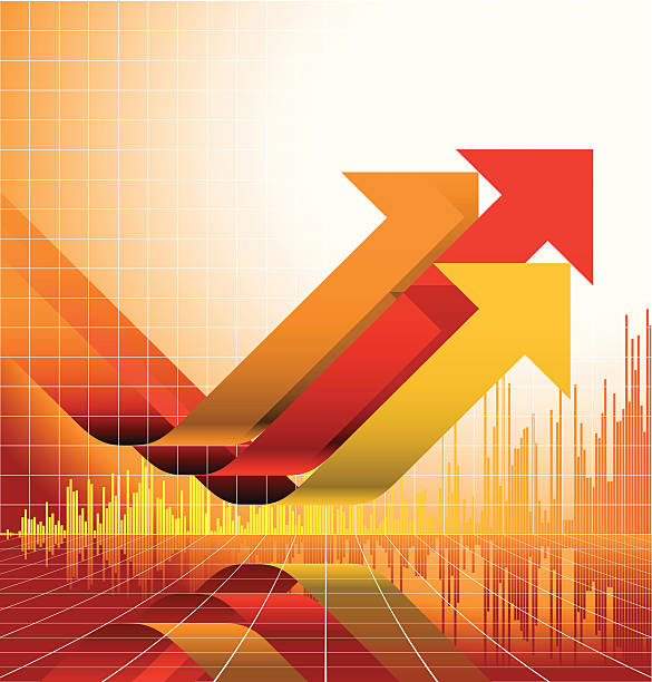 Yellow and red graph design with upward arrows color variation with layers wall street stock illustrations