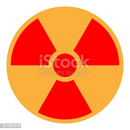 Yellow And Red Ionizing Radiation Sign In Circle Vector Icon Stock