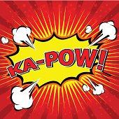 Yellow and red Ka-Pow! Comic Speech Bubble