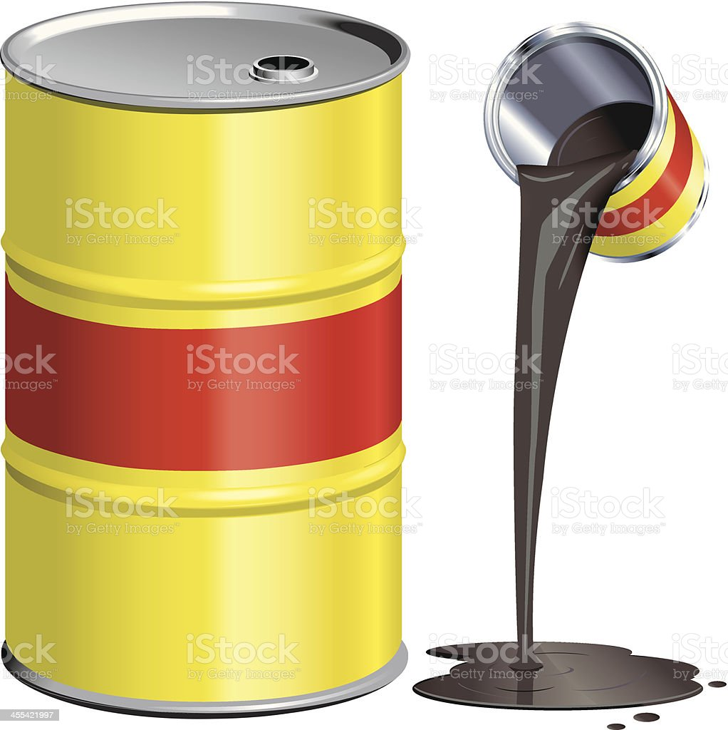 Yellow and Red Oil Drum with Can royalty-free yellow and red oil drum with can stock vector art & more images of barrel
