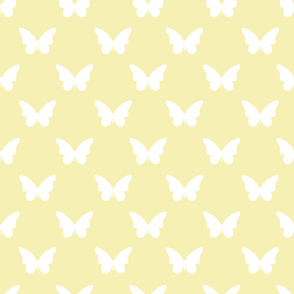 Yellow and white butterfly repeat pattern seamless. Silhouette butterfly. Vector.