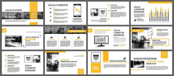 yellow and white element for slide infographic on background. presentation template. use for business annual report, flyer, corporate marketing, leaflet, advertising, brochure, modern style. - katalog stock illustrations