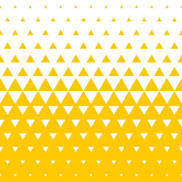 yellow and white triangular halftone transition pattern background. vector abstract seamless pattern of irregular gradation triangles in mosaic texture background design - triangle shape stock illustrations