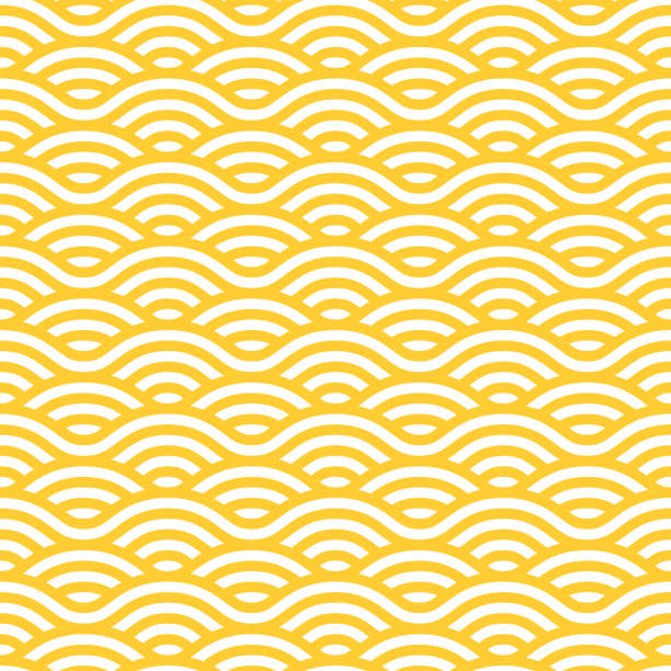 Yellow and white waves seamless pattern Yellow and white waves seamless pattern. Vector linear ornament. seafood stock illustrations