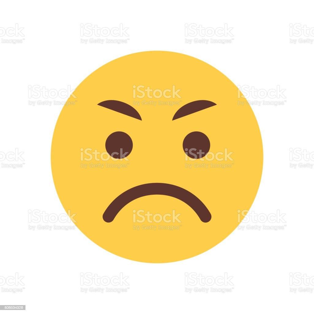 Yellow Angry Cartoon Face Emoji People Emotion Icon vector art illustration
