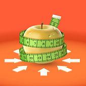 Yellow apple, green measuring tape, arrow. Diet