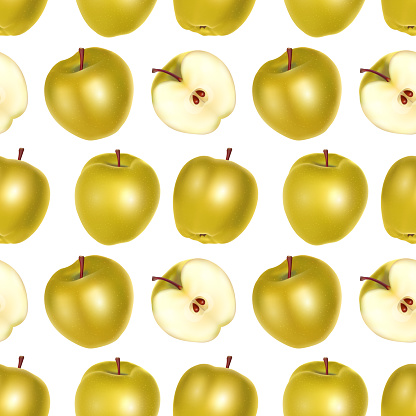 Yellow Apples Seamless Endless Pattern on white background, Can be used in food industry for wallpapers, posters, wrapping paper